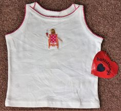 NWT Hartstrings Girl 4 4T Tank Top Summer Ice Cream Cone Pink White Cotton Shirt