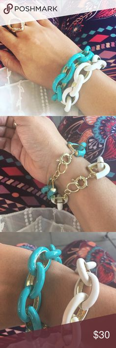 🆕Selling Two Chain Link Bangles Two enamel coded high shine links with gold tone very chunky very attractive. Get two for a reasonable price normally $20.00 each. T&J Designs Jewelry Bracelets
