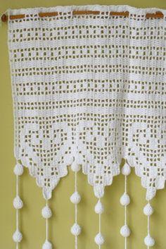 Crochet Kitchen, Crochet Home, Filet Crochet, Knit Crochet, Shaby Chic, Crochet Curtains, Bedroom Color Schemes, Floral Wall, Chrochet