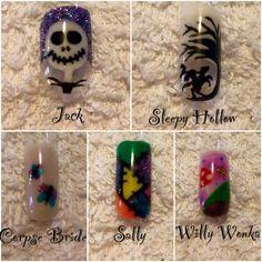 #Timburton #Halloween #Nails by Laura Denton #jack #sleepyhollow #corpsebride #sally #willywonka @timburton  https://www.facebook.com/ENUKInvertedNailSystems