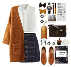 """""""Plaid"""" by mirovamv ❤ liked on Polyvore featuring Chicwish, American Apparel, Brooks Brothers, Olivia Burton, Bobbi Brown Cosmetics, Hourglass Cosmetics, Polaroid, Yves Saint Laurent, REN and ASOS"""