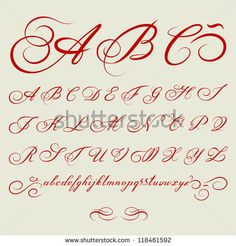 vector hand drawn calligraphic Alphabet based on calligraphy masters of the 18th century - stock vector