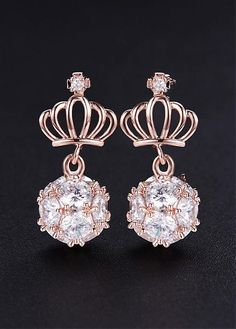 9ff7cc3e5 18K Gold Plated Stud Earrings, Crown with Micro Pave AAA Zirconia Ball,  Rose Gold