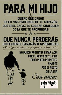 Te amo hijo seba y Carlos Son Quotes, Life Quotes, Message To My Son, I Love My Son, Spanish Quotes, Positive Quotes, Positive Phrases, Inspirational Quotes, Wisdom
