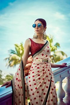 Ivory Star Print Sabyasachi Saree with red sequins blouse. Click on picture to see price. #Frugal2Fab