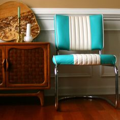 Retro vinyl chair from RhapsodyAttic on Etsy