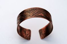Etched Copper Cuff Men's and Women's Wide by TheLiftJewelryShop, $29.99