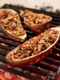 Gianna's Grilled Stuffed Eggplant - Healthy Recipe Finder | Prevention -- add some ground turkey for a great low fat protein source and this sounds great!!