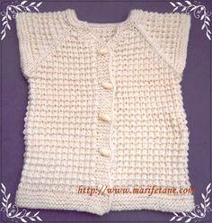 Marifetane- İğne Oyası ve Açıklamalı modeller: Şiş örgü Açıklamali Kolay Bebek Yeleği Knit baby v...