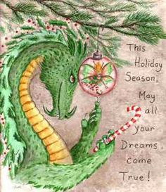 Christmas-Holiday Dragon by Heidi Buck Christmas Dragon, Christmas Fairy, Christmas Love, Christmas Pictures, Vintage Christmas, Magical Creatures, Fantasy Creatures, Mythological Creatures, Pegasus