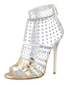 Malika Perforated Metallic Leather Sandal by Jimmy Choo at Bergdorf Goodman.