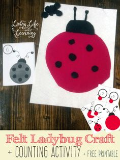 Practice counting with this cute Felt Ladybug Craft with free printables