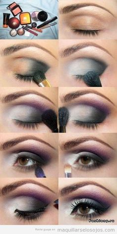 Eyes makeup, black and purple smoky, step by step.  Great tutorial to learn how to paint the eyes with a nice combination of colors: white, black (or dark gray) and purple or mauve, all with smoky effect. Really sexy and suggestive. It is also suitable for both green eyes, brown eyes and light brown eyes, dark and black. If you like this makeup both answers this question For what occasion would you use this type of makeup?