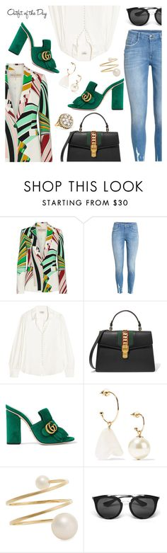Outfit of the Day by dressedbyrose on Polyvore featuring Frame, Emilio Pucci, Gucci, Fred Leighton, Sophie Bille Brahe, Simone Rocha, Prada, Petit Bateau, ootd and polyvoreeditorial