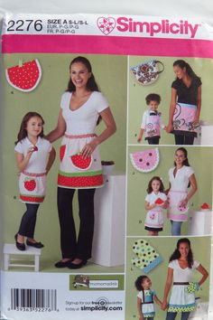 Simplicity Sewing Pattern 2276 Child's and Misses' Aprons in Three Sizes and Potholders