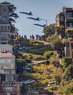 Blue Angels over Lombard St. in San Francisco during Fleet Week 2017.