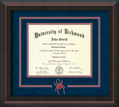 Image of University of Georgia Diploma Frame - Mahogany Lacquer - Laser G Logo Cutout - Black on Red on Off White mat University Of Richmond, University Diploma, University Logo, University Of Georgia, Bachelor Master, Bachelor Of Arts, Unique Graduation Gifts, Embossed Seal, Diploma Frame