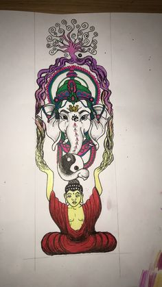 Buddha, Krishna, Tree of life, Ying-Yang, Ganesha, all as one, meditation, tattoo, Buddhist tattoos, Buddhist drawings
