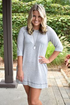 Pink Slate Boutique - Right Here Waiting Sweatshirt Dress (Grey), $29.00…
