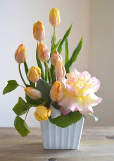 Tulips and a beautiful garden rose.