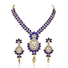 Traditional Blue Stone Gold Plated Indian Women & Girls Bollywood Necklace Set #natural_gems15