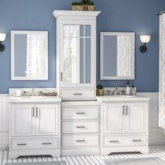 """Geraldina 85"""" Double Sink Bathroom Vanity with Mirror"""