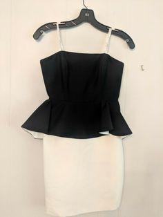 Halston Heritage Dress, Black Cream, Size 2, Strapless Dress, Peplum, Camisole Top, Tank Tops, Beautiful, Dresses