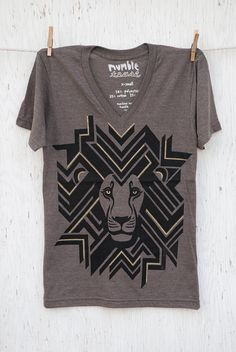 Leo the Geometric Lion Hand silk screened unisex by mumbletease