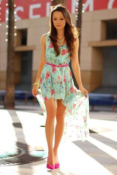 Mint and pink floral dress! Love floral