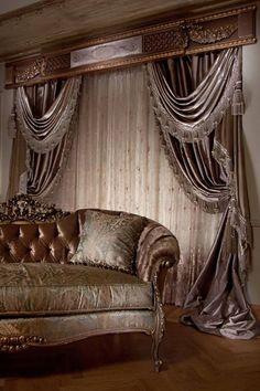 "Shady Curtains"" Home Decor Luxury Curtains, Home Curtains, Modern Curtains, Interior Design Pictures, Modern Interior Design, Interior Design Inspiration, Curtain Styles, Curtain Designs, Living Room Designs"