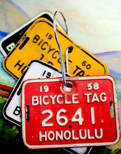 Metal Hawaiian bike tags