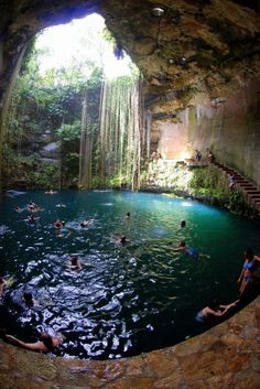 The opening of the Sacred Cenote is about 65 meters in diameter (and about an acre in area), with steep vertical sides some 60 feet above the water level. The water continues for another 40 feet and at the bottom is about 10 feet of mud