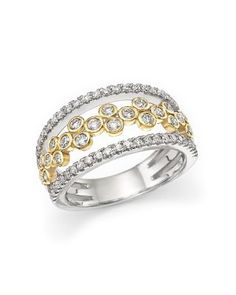 Diamond Triple Row Open Ring in 14K White and Yellow Gold, .90 ct. t.w. | Bloomingdale's