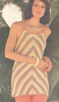 Vintage 1970s Crochet Chevron Tunic or Mini Dress por cemetarian