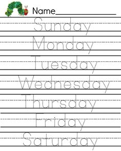Free Caterpillar writing page days of the week printable