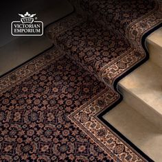 Victorian Stair Runner Carpet - style KO1137 - Stair and hall runner ... Not the pattern but the way it goes onto the landing