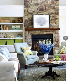 Blue, green & brown cottage living room. Love the cool and warm tones mixing