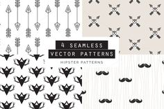 What you get: - A Vector EPS format file with 4 seamless patterns. - A Vector AI format file with 4 seamless patterns. - 4 JPEG files one for each pattern, size: 2500 × 2500 px at If Photoshop, Vector Pattern, Pattern Design, Creative Market Free, Textures Patterns, Print Patterns, Hipster Pattern, Texture Web, Welcome Design