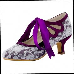 Woman Shoes Mid Heel Mary Jane Purple Close Toe Lace Pumps Bridesmaid Lady Party Prom Women S Wedding Bridal This Is An Aliexpress Affiliate