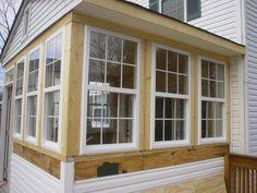 back porch to sunroom Screened Porch Designs, Screened In Porch, Enclosed Porches, Front Porches, Bungalows, Closed In Porch, Sunroom Windows, Front Windows, 3 Season Room