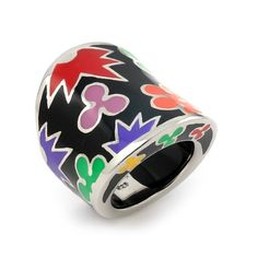 BLACK AND MULTI COLOR DESIGNO WIDE RING A beautiful Nickel-free Sterling silver Designo black and multi color wide ring featuring multi color flower designd. Designo, is our exclusive line of luminous colored resin combined with sterling silver and anti-tarnish rhodium. The colored resin is extremely durable and scratch resistant and the rhodium gives pieces a brilliant platinum-like finish Silver Jewelry Rings