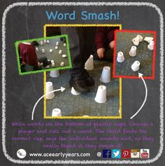 Write words on the bottom of plastic cups. Call the word out to your first player. When they find it they sound out the word and, as they blend it, they smash it! Phonics Lessons, Teaching Phonics, Phonics Activities, Primary Teaching, Learning Activities, Teaching Kids, Jolly Phonics, Phonics Worksheets, Learning Letters