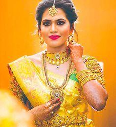 Silk Saree Blouse Designs - Yellow Kanjeevaram Saree With Zardozi Work Blouse