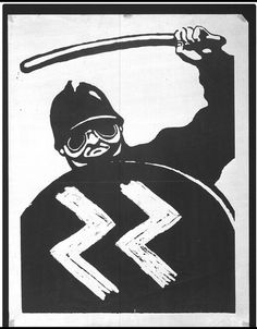 In 1968 young French revolutionaries took to the streets to promote a new society, one not based on capitalism or consumerism but on an alliance between students and workers. This poster, printed on 18 May 1968, at the beginning of the occupation of the École des Beaux-Arts, depicts a policeman wielding a baton and carrying a riot shield bearing the letters 'SS'. Made by the Atelier Populaire.