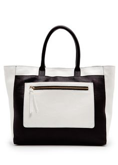 MANGO - Pocket leather tote bag....perfect for work