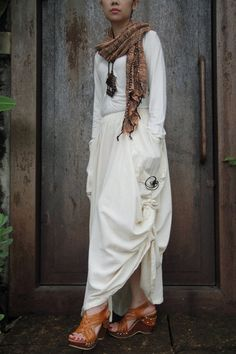 The stunning creamy tone long skirt cotton with a unique pattern design via Etsy