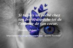 Si tu vois un péché chez ton frère dépêche-toi de l'enlever de ton coeur.  Proverbe tibétain
