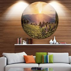 Designart 'Vine Farm at Sunset Tuscany Panorama' Landscape Round Wall Art