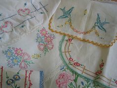 Pretty old pieces of needlework