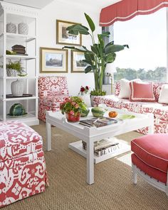 Wonderful Palm Beach room with not one but TWO oomph Fairfield Coffee tables. via House Beautiful/May 2014